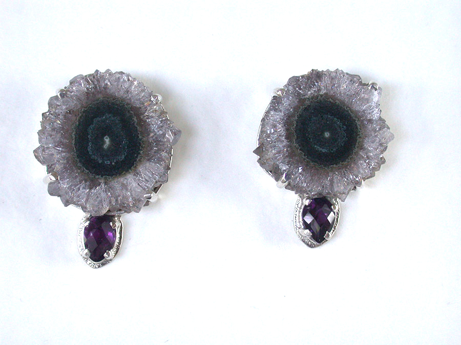 Amy Kahn Russell Online Trunk Show: Natural Geode & Faceted Amethyst Post Earrings | Rendezvous Gallery