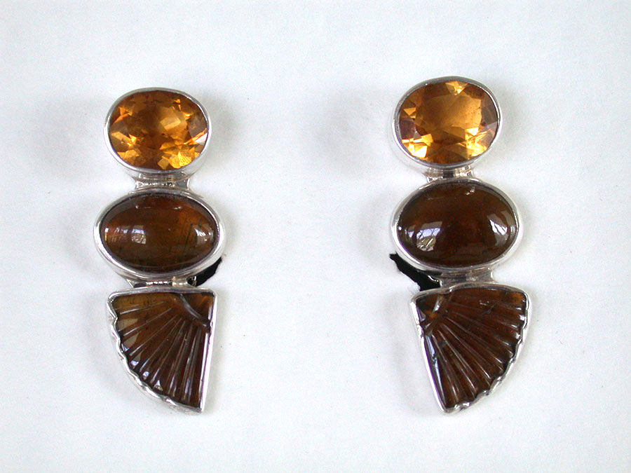 Amy Kahn Russell Online Trunk Show: Citrine & Whiskey Quartz Clip Earrings | Rendezvous Gallery