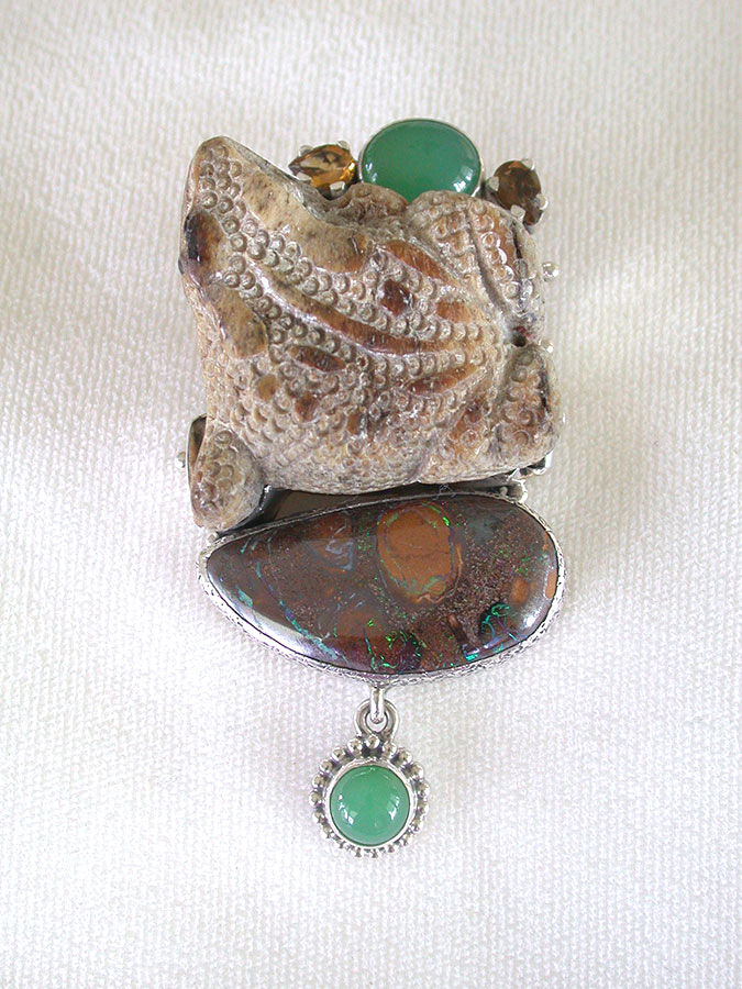Amy Kahn Russell Online Trunk Show: Hand Carved Naturally Fallen Antler & Boulder Opal Pin/Pendant | Rendezvous Gallery