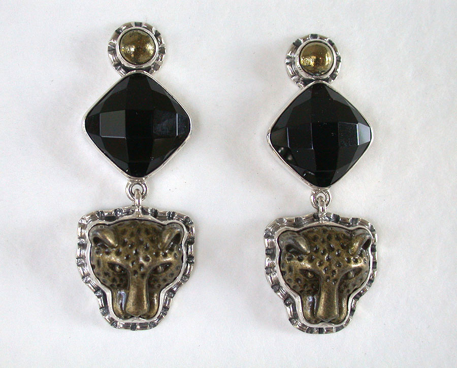 Amy Kahn Russell Online Trunk Show: Chalco Pyrite, Black Onyx & Bronze Clip Earrings | Rendezvous Gallery