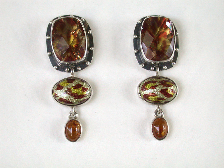 Amy Kahn Russell Online Trunk Show: Enameled Quartz & Enameled Agate Clip Earrings | Rendezvous Gallery