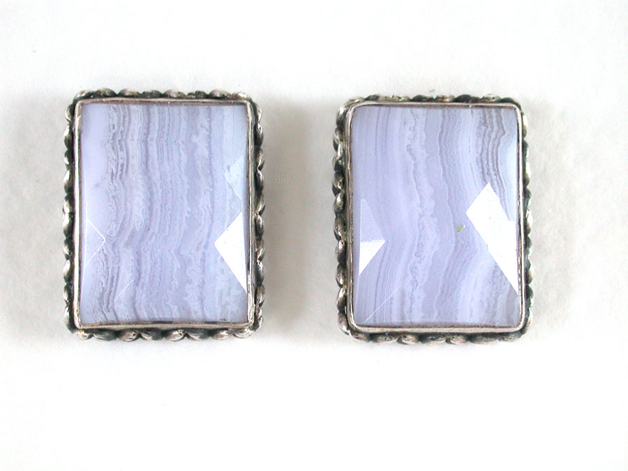 Amy Kahn Russell Online Trunk Show: Blue Lace Agate Clip Earrings | Rendezvous Gallery