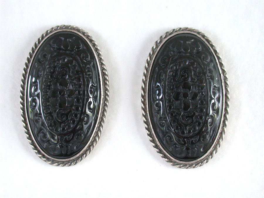 Amy Kahn Russell Online Trunk Show: Hand Carved Black Onyx Post Earrings | Rendezvous Gallery