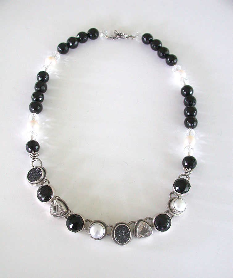 Amy Kahn Russell Online Trunk Show: Black Onyx, Drusy, Freshwater Pearl & Crystal Necklace | Rendezvous Gallery