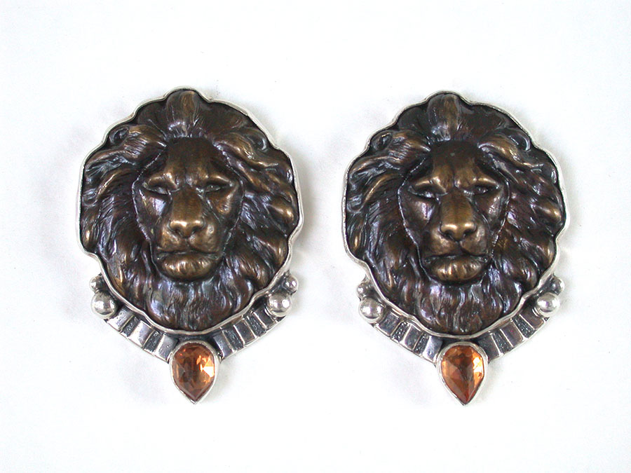 Amy Kahn Russell Online Trunk Show: Brass Lions & Rose Gold-Plated Crystal Clip Earrings | Rendezvous Gallery