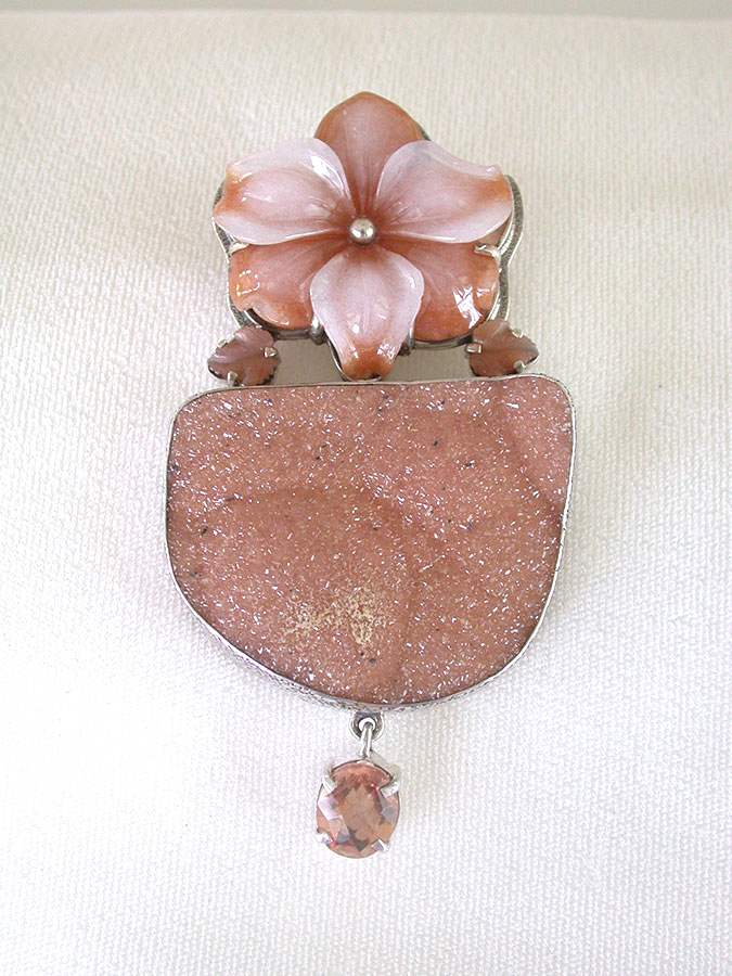 Amy Kahn Russell Online Trunk Show: Carved Red Aventurine, Natural Drusy & Celestial Quartz Pin/Pendant | Rendezvous Gallery