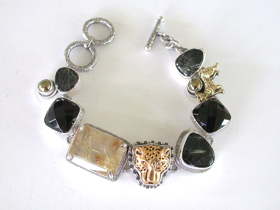 Amy Kahn Russell Online Trunk Show: Rutilated Quartz, Pyrite w/Slade, Brass & Chalco Pyrite Bracelet | Rendezvous Gallery