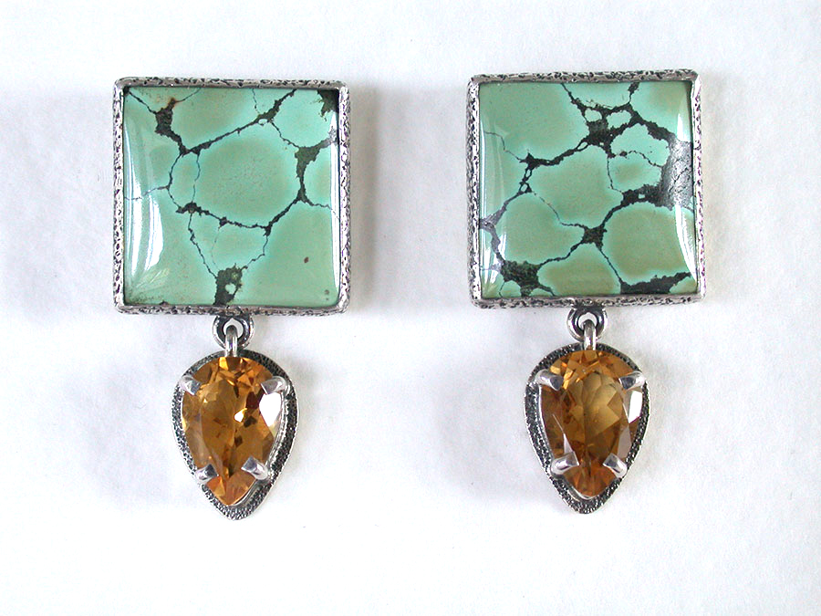 Amy Kahn Russell Online Trunk Show: Turquoise & Citrine Post Earrings | Rendezvous Gallery
