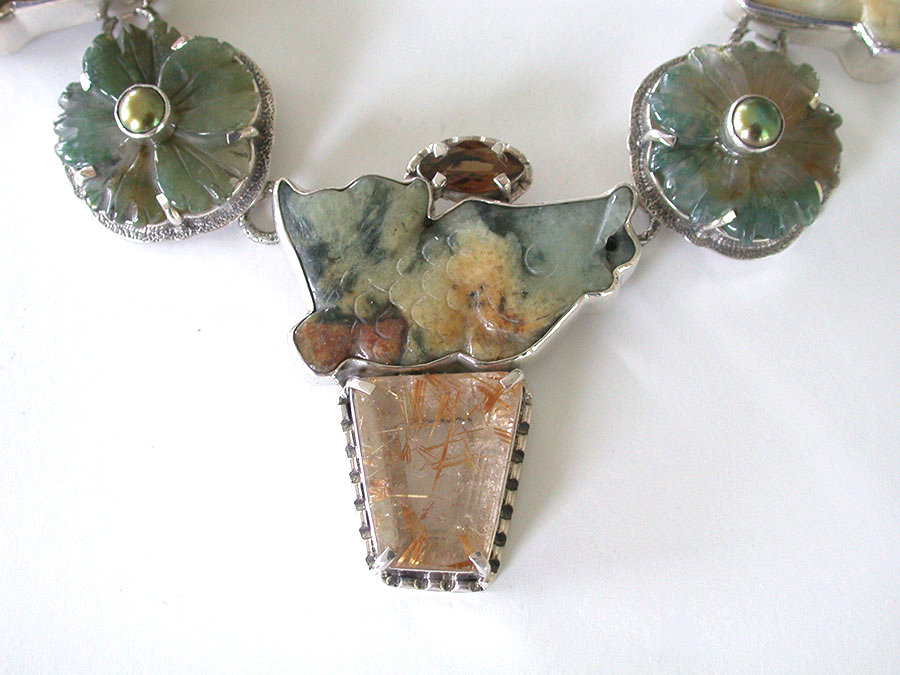 Amy Kahn Russell Online Trunk Show: Whiskey Quartz, Carved Jade, Rutilated Quartz & Moss Agate Necklace | Rendezvous Gallery