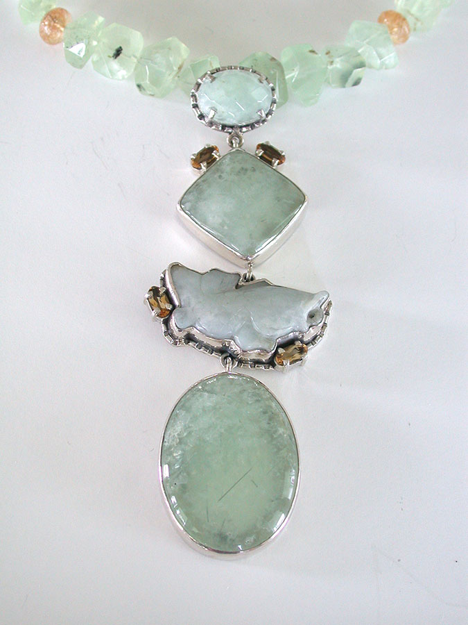 Amy Kahn Russell Online Trunk Show: Prehnite, Citrine & Hand Carved Jade Necklace | Rendezvous Gallery