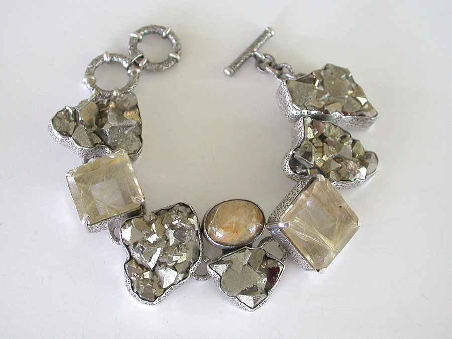 Amy Kahn Russell Online Trunk Show: Rutilated Quartz & Chalco Pyrite Bracelet | Rendezvous Gallery