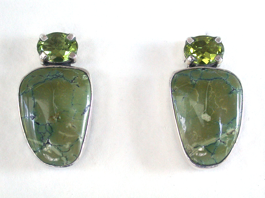 Amy Kahn Russell Online Trunk Show: Peridot & Turquoise Clip Earrings | Rendezvous Gallery