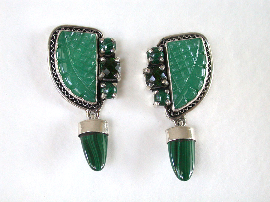 Amy Kahn Russell Online Trunk Show: Carved Chrysoprase, Malachite & Chrome Diopside Clip Earrings | Rendezvous Gallery