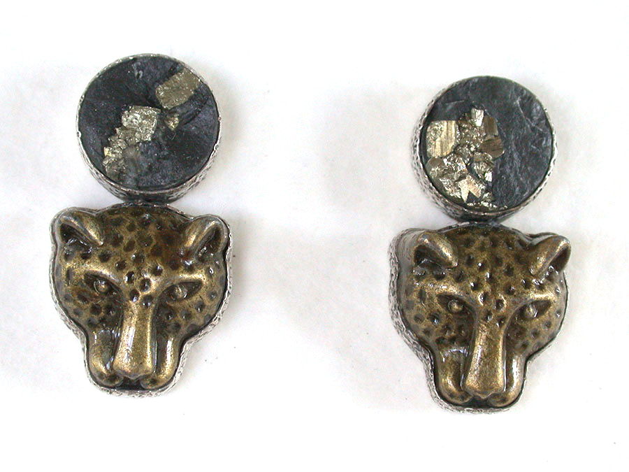 Amy Kahn Russell Online Trunk Show: Slade in Pyrite & Bronze Clip Earrings | Rendezvous Gallery