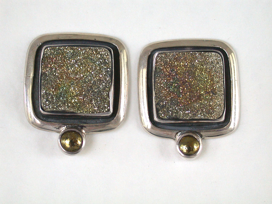 Amy Kahn Russell Online Trunk Show: Rainbow Pyrite & Chalco Pyrite Clip Earrings | Rendezvous Gallery