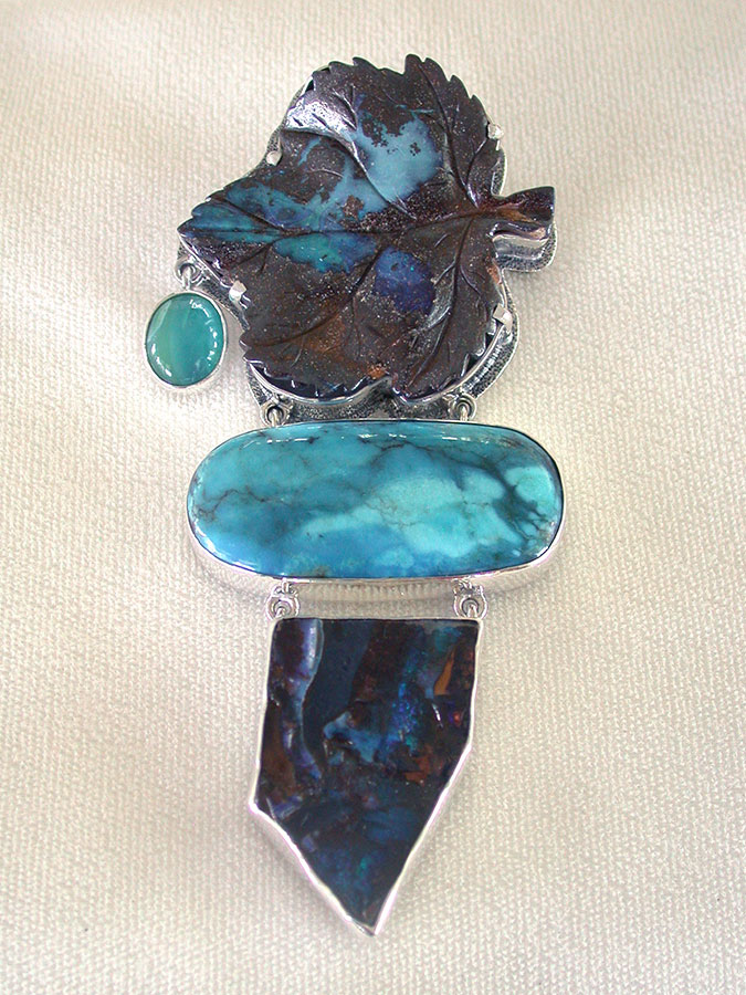 Amy Kahn Russell Online Trunk Show: Carved Boulder Opal, Turquoise & Peruvian Opal Pin/Pendant | Rendezvous Gallery