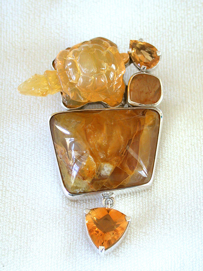 Amy Kahn Russell Online Trunk Show: Citrine, Hand Carved Opal & Agate Pin/Pendant | Rendezvous Gallery