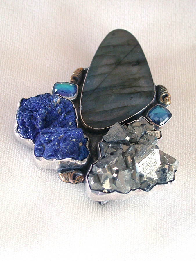 Amy Kahn Russell Online Trunk Show: Labradorite, Azurite & Pyrite Pin/Pendant | Rendezvous Gallery