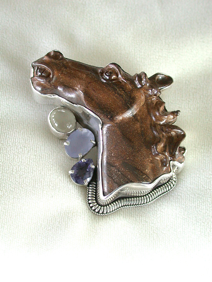 Amy Kahn Russell Online Trunk Show: Carved Boulder Opal, Moonstone, Chalcedony & Tanzanite Pin/Pendant | Rendezvous Gallery