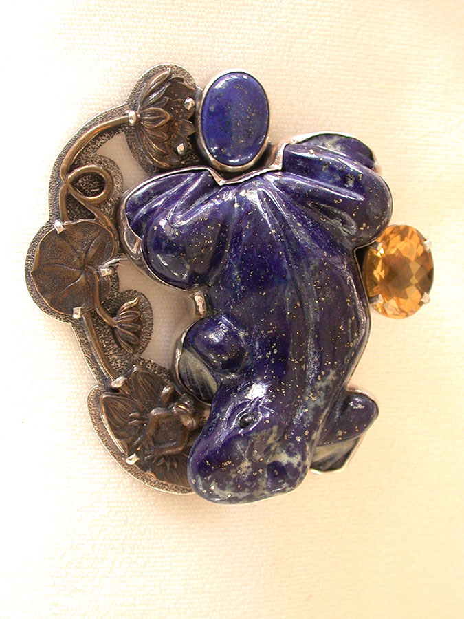 Amy Kahn Russell Online Trunk Show: Citrine & Hand Carved Lapis Lazuli Pin/Pendant | Rendezvous Gallery