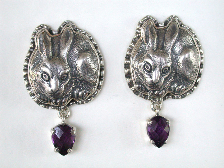 Amy Kahn Russell Online Trunk Show: Sterling Silver & Amethyst Clip Earrings | Rendezvous Gallery