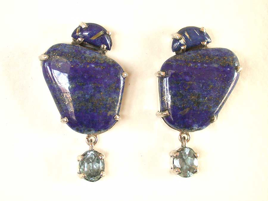 Amy Kahn Russell Online Trunk Show: Lapis Lazuli & Blue Topaz Post Earrings | Rendezvous Gallery