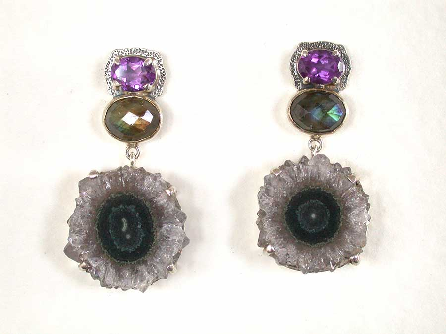 Amy Kahn Russell Online Trunk Show: Amethyst, Labradorite & Amethyst Geode Post Earrings | Rendezvous Gallery