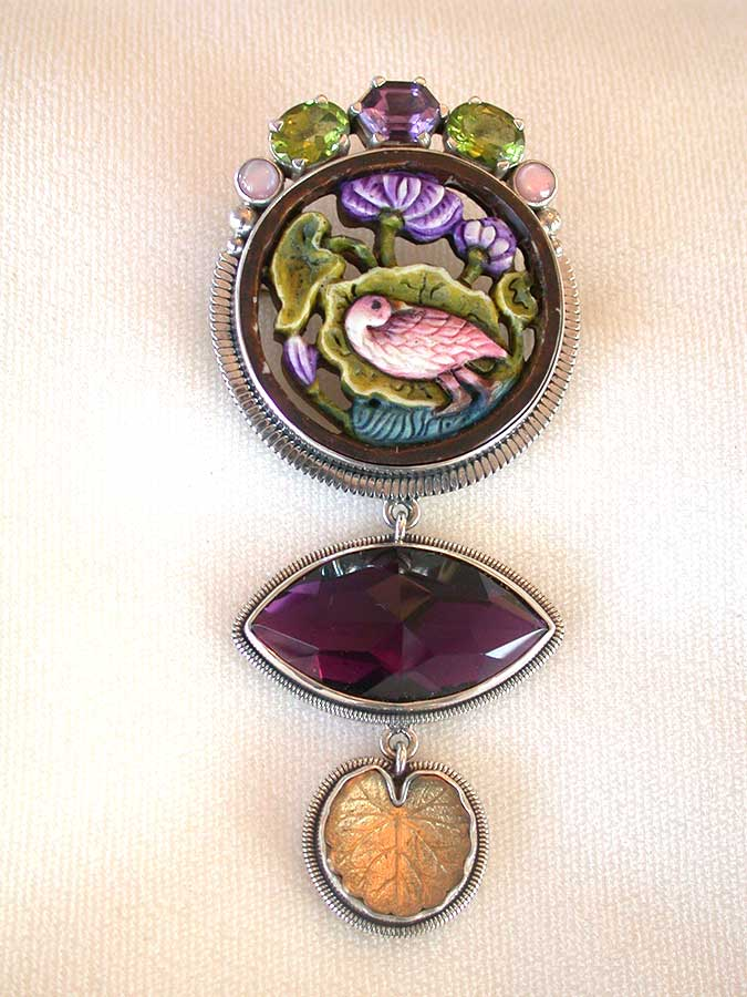 Amy Kahn Russell Online Trunk Show: Amethyst, Peridot & Carved/Painted Fossilized Mammoth Ivory Pin/Pendant | Rendezvous Gallery