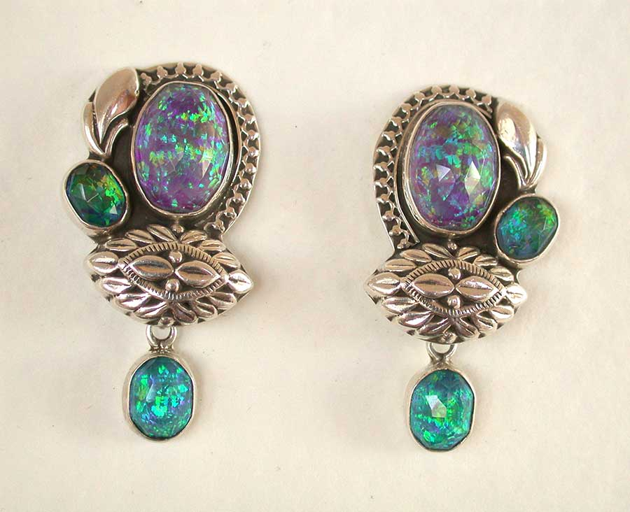 Amy Kahn Russell Online Trunk Show: Opal wtih Quartz Clip Earrings | Rendezvous Gallery