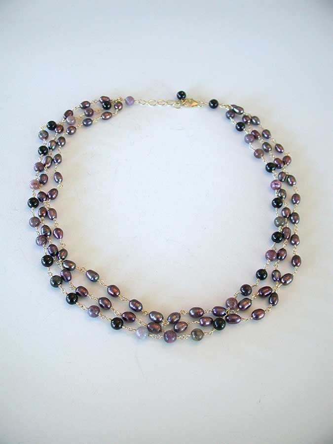 Amy Kahn Russell Online Trunk Show: Tourmalated Quartz & Freshwater Pearl Necklace | Rendezvous Gallery
