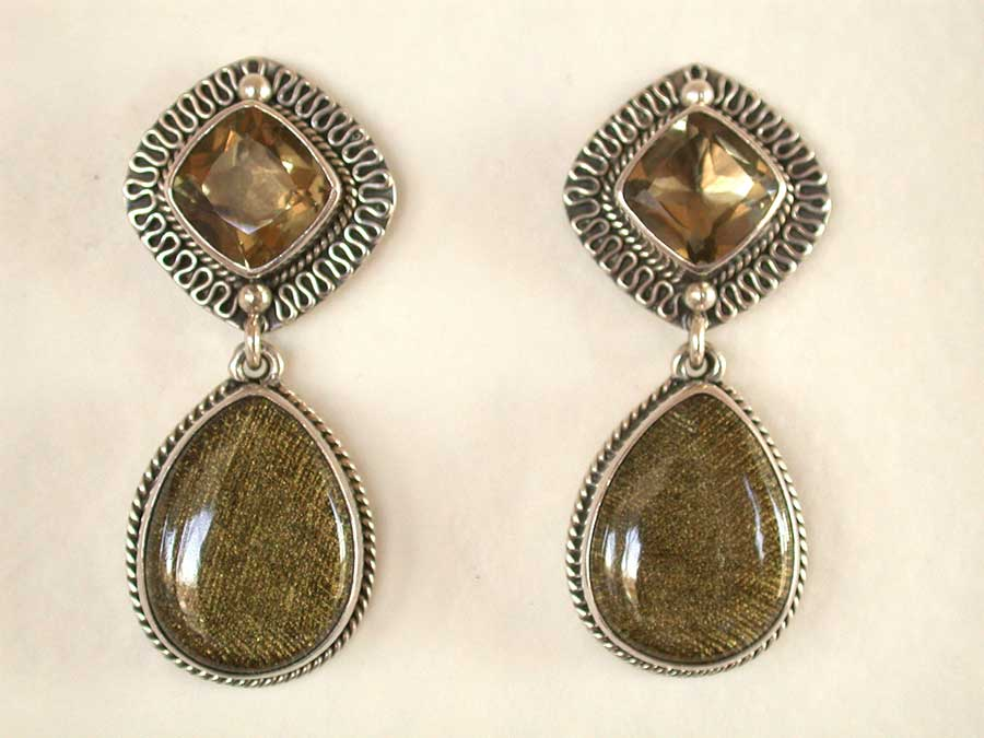 Amy Kahn Russell Online Trunk Show: Lemon Citrine & Tapestry in Quartz Post Earrings | Rendezvous Gallery