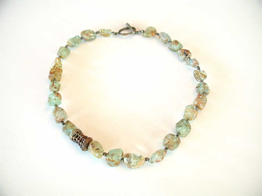 Amy Kahn Russell Online Trunk Show: Aquamarine & Bauble Brass Necklace   | Rendezvous Gallery