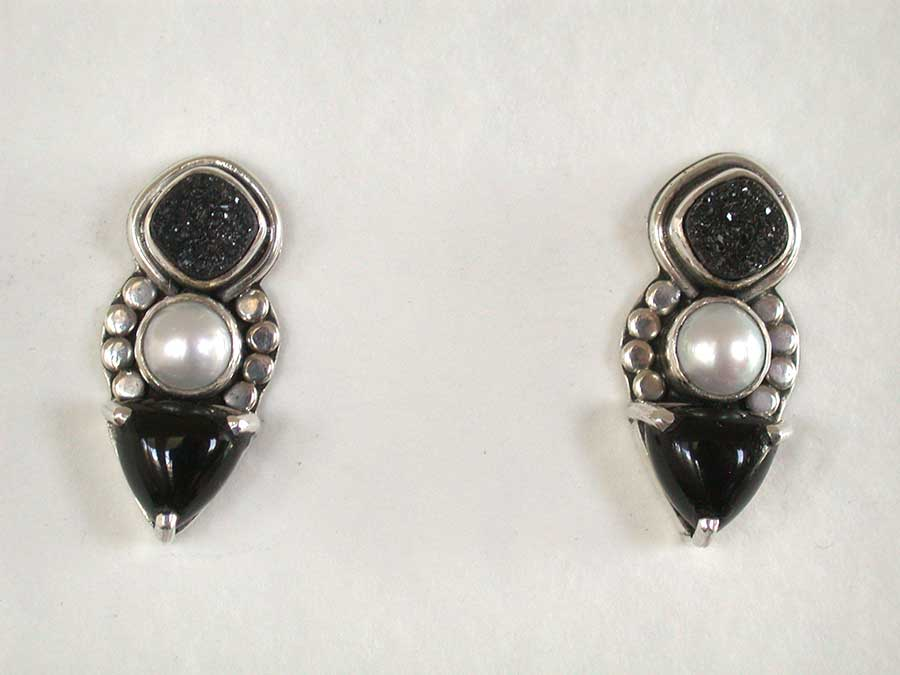 Amy Kahn Russell Online Trunk Show: Drusy, Freshwater Pearl & Black Onyx Post Earrings | Rendezvous Gallery