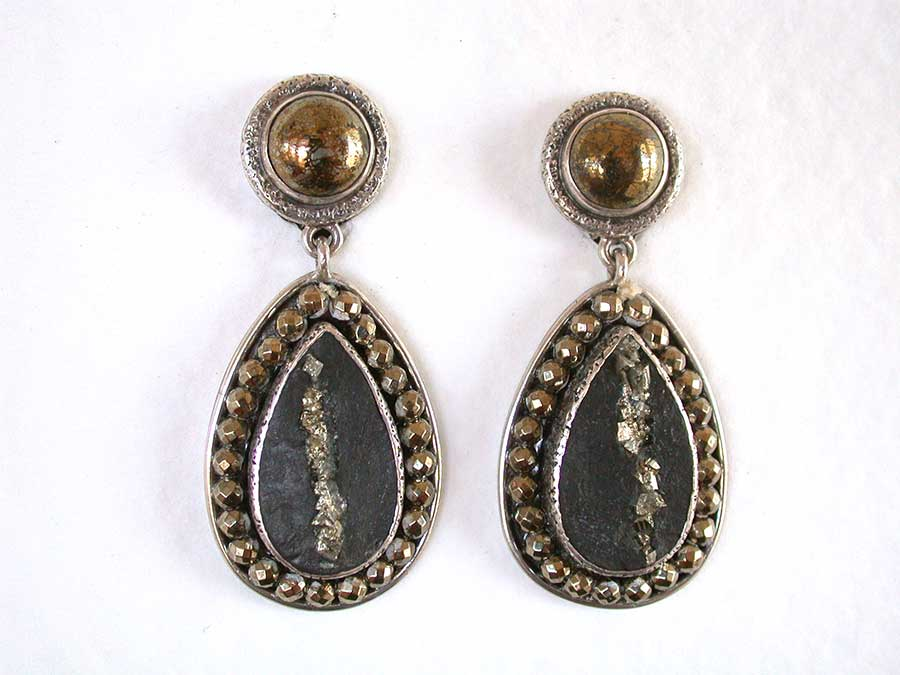 Amy Kahn Russell Online Trunk Show: Chalco Pyrite & Pyrite in Slade Clip Earrings | Rendezvous Gallery