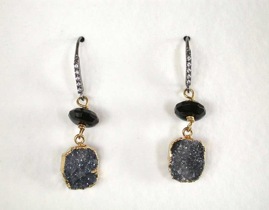 Amy Kahn Russell Online Trunk Show: Black Onyx & Brazilian Agate Drusy Earrings | Rendezvous Gallery