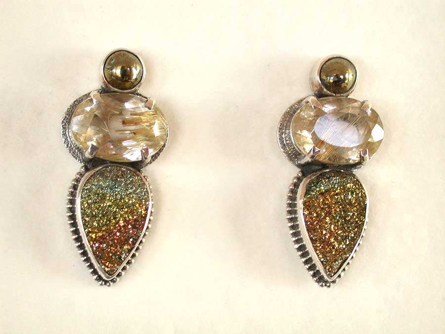 Amy Kahn Russell Online Trunk Show: Chalco Pyrite, Rutilated Quartz & Rainbow Pyrite Post Earrings | Rendezvous Gallery