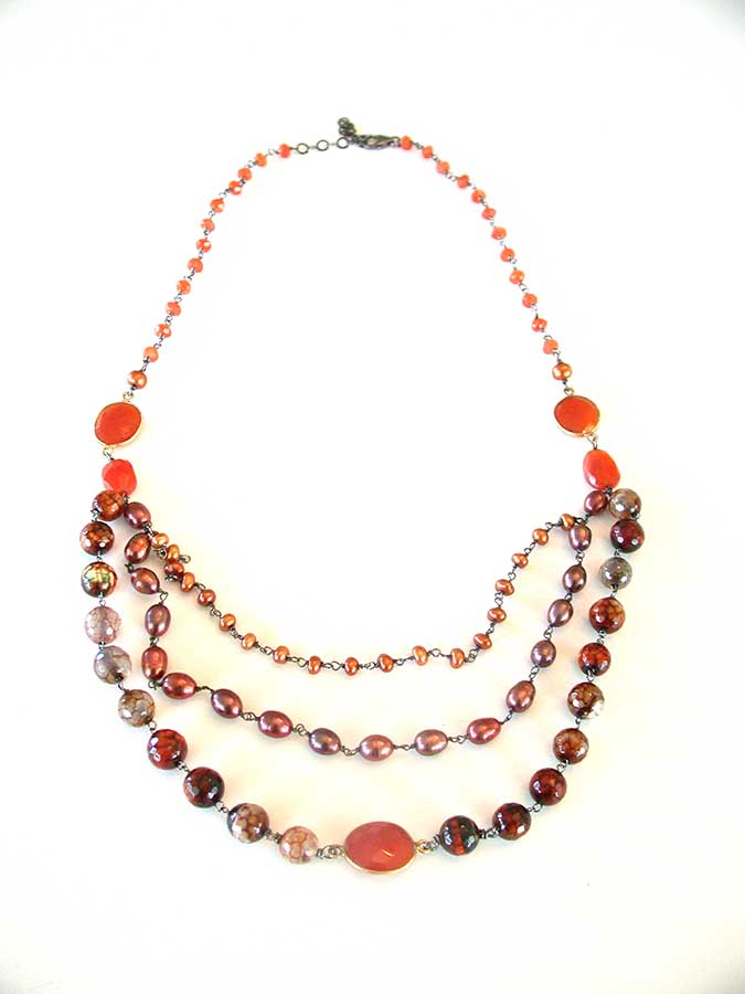 Amy Kahn Russell Online Trunk Show: Carnelian, Agate & Freshwater Pearl Necklace | Rendezvous Gallery