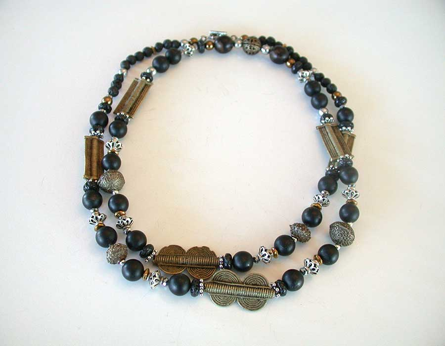 Amy Kahn Russell Online Trunk Show: African Brass, Lava Stone, Black Jet & Hematite Necklace | Rendezvous Gallery
