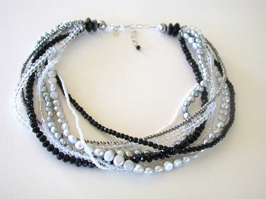Amy Kahn Russell Online Trunk Show: Freshwater Pearl, Black Agate & Angelic Crystal Necklace | Rendezvous Gallery