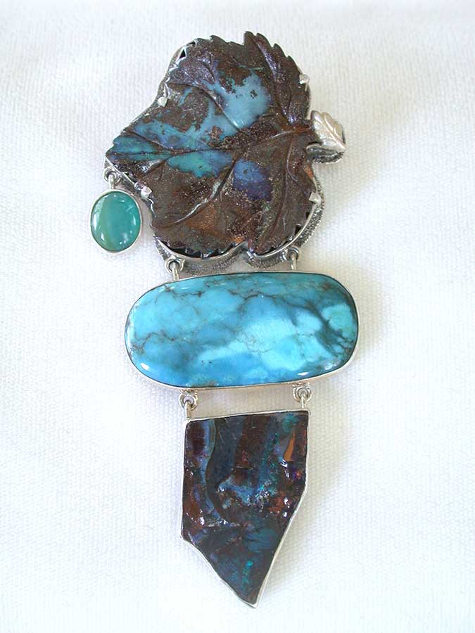 Amy Kahn Russell Online Trunk Show: Boulder Opal, Turquoise & Peruvian Opal Pin/Pendant | Rendezvous Gallery