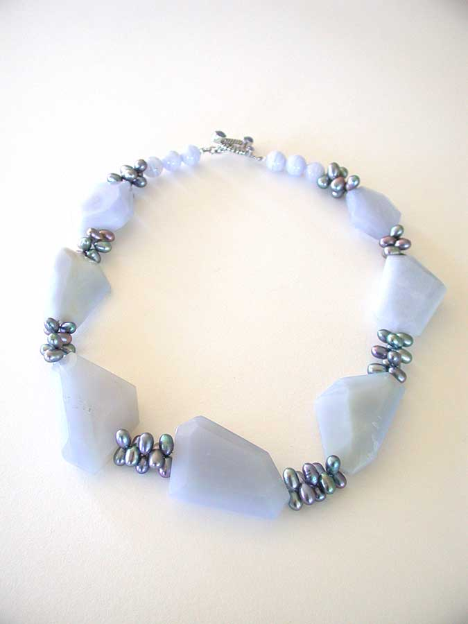 Amy Kahn Russell Online Trunk Show: Chalcedony, Blue Lace Agate & Pearl Necklace Necklace | Rendezvous Gallery