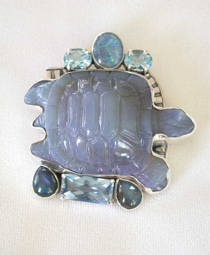 Amy Kahn Russell Online Trunk Show: Opal, Blue Topaz, Carved Chalcedony & Labradorite Pin/Pendant | Rendezvous Gallery
