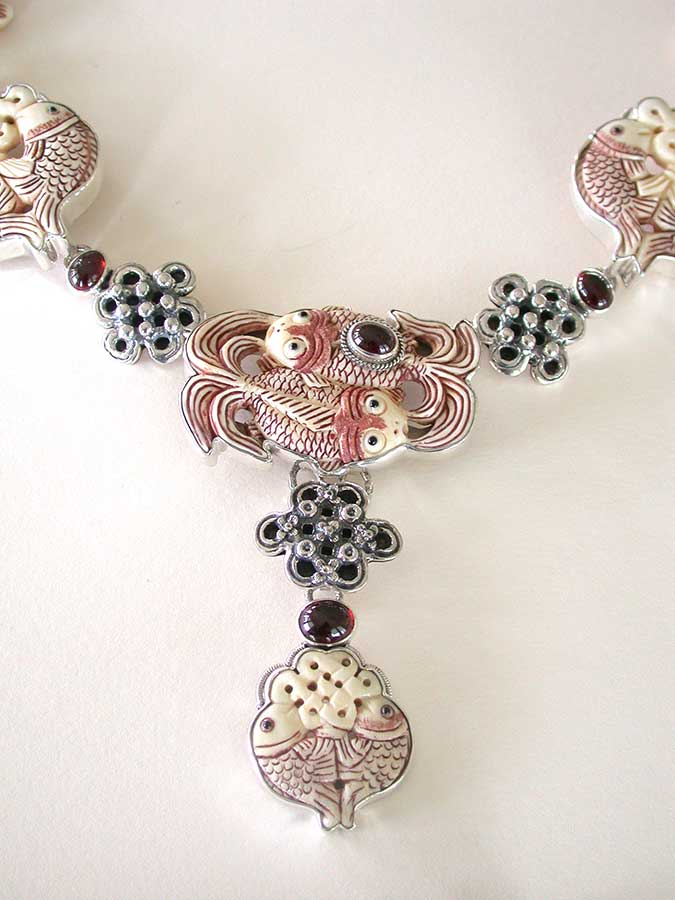Amy Kahn Russell Online Trunk Show: Carved Bone & Garnet Necklace | Rendezvous Gallery