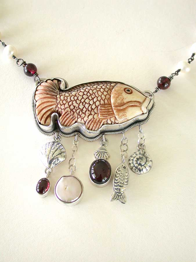 Amy Kahn Russell Online Trunk Show: Hand Carved Bone, Garnet & Freshwater Pearl Necklace | Rendezvous Gallery