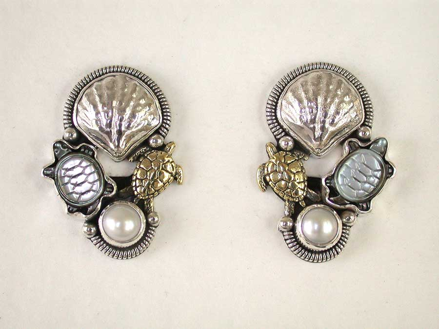 Amy Kahn Russell Online Trunk Show: Carved Mother of Pearl & Faceted Quartz Clip Earrings | Rendezvous Gallery