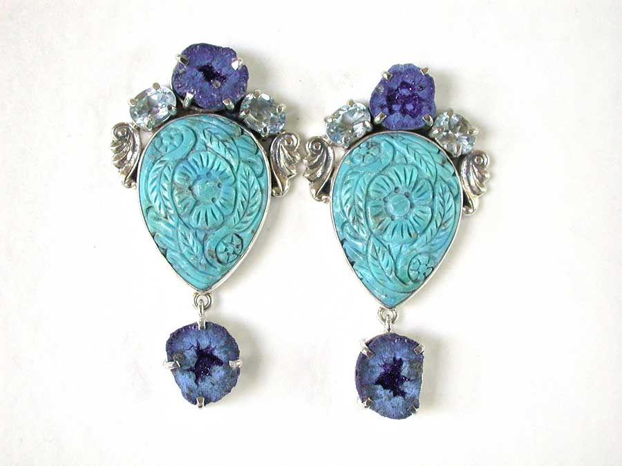 Amy Kahn Russell Online Trunk Show: Azurite, Blue Topaz & Turquoise Clip Earrings | Rendezvous Gallery