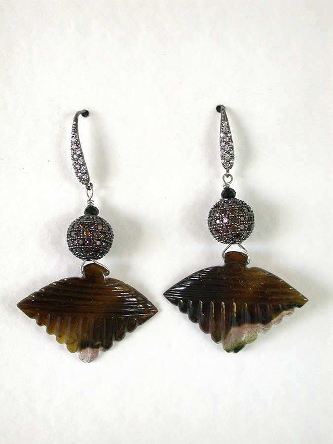 Amy Kahn Russell Online Trunk Show: Pave Bead & Carved Tourmaline Earrings | Rendezvous Gallery