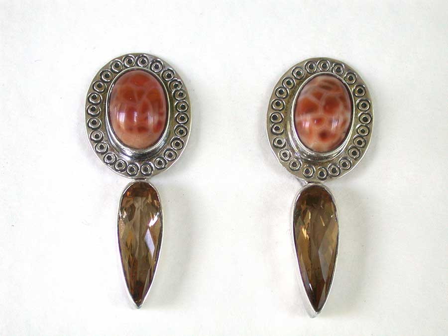 Amy Kahn Russell Online Trunk Show: Fire Agate & Quartz Clip Earrings | Rendezvous Gallery