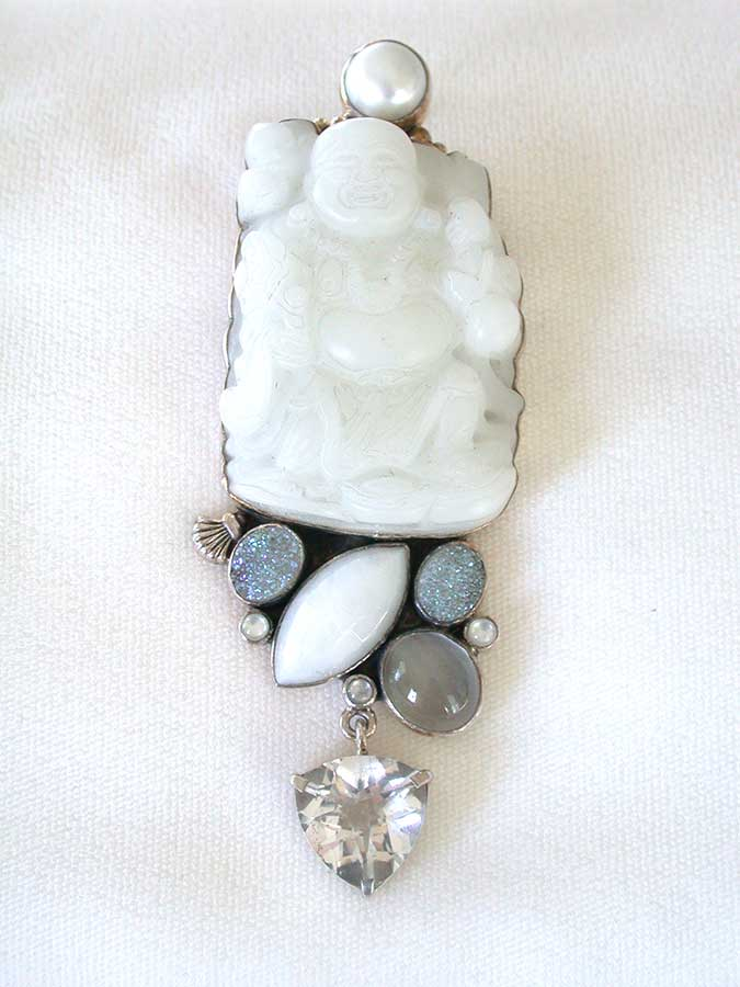 Amy Kahn Russell Online Trunk Show: Pearl, Carved White Jade, Calcite & Crystal Pin/Pendant | Rendezvous Gallery