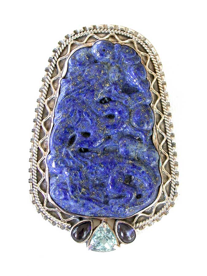 Amy Kahn Russell Online Trunk Show: Hand Carved Lapis Lazuli, Iolite & Blue Topaz Pin/Pendant | Rendezvous Gallery